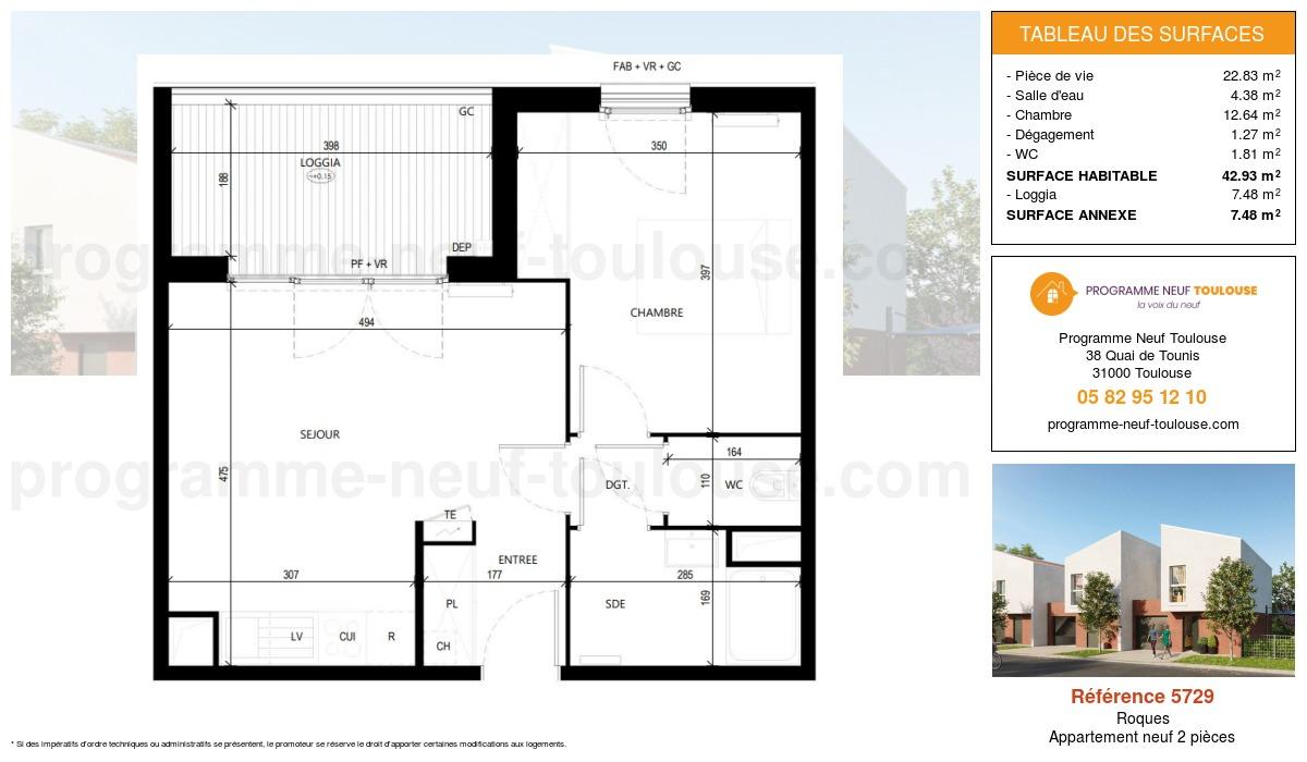 Plan pour un Appartement neuf de  42.93m² à Roques