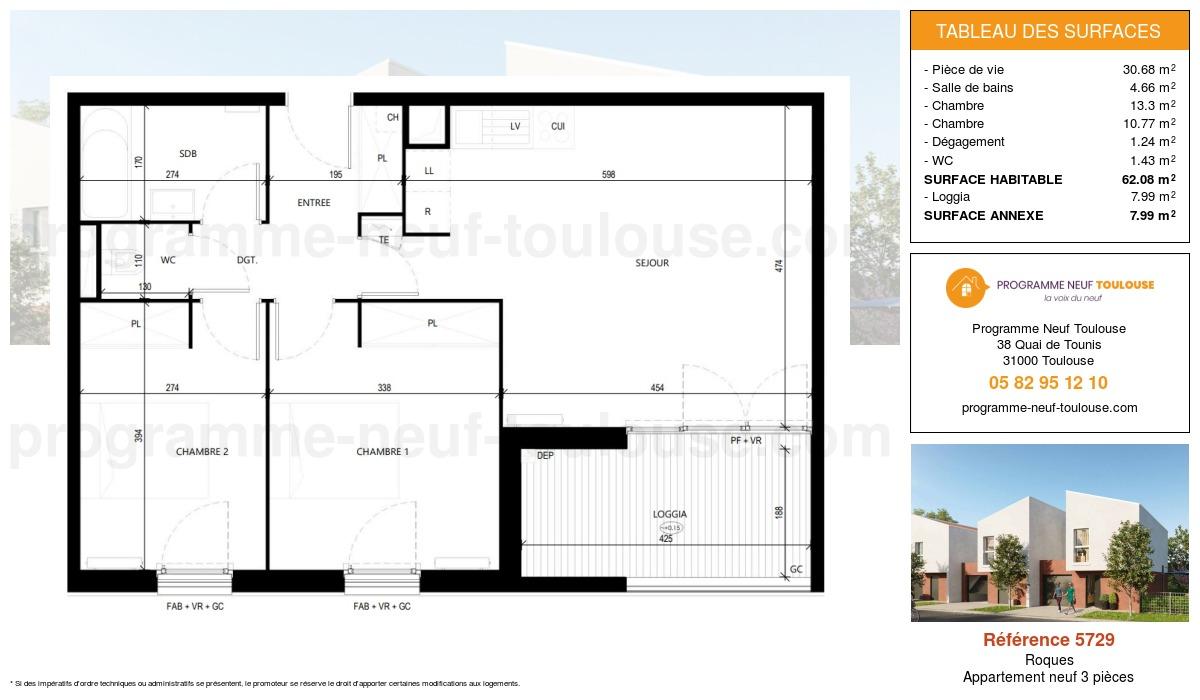 Plan pour un Appartement neuf de  62.09m² à Roques