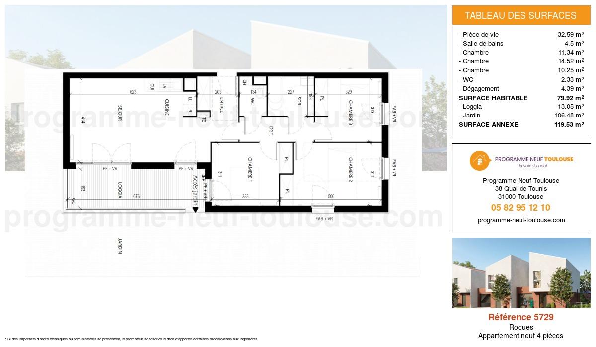 Plan pour un Appartement neuf de  79.91m² à Roques