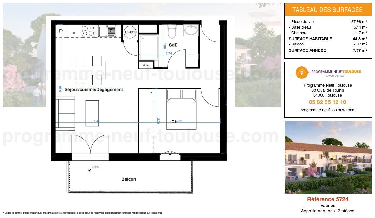Plan pour un Appartement neuf de  44.3m² à Eaunes