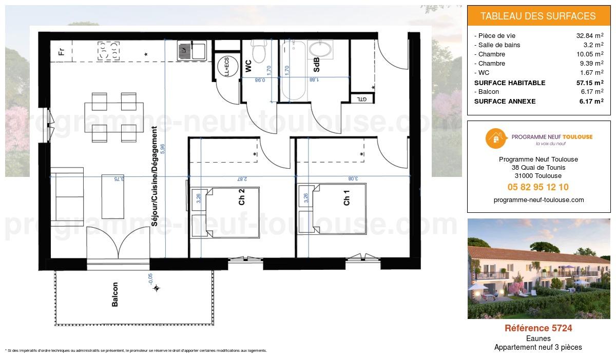 Plan pour un Appartement neuf de  57.15m² à Eaunes