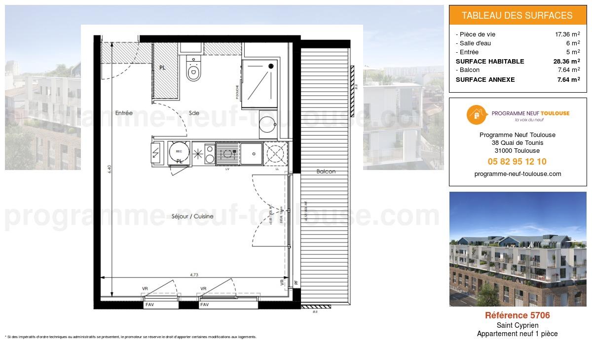 Plan pour un Appartement neuf de  28.36m² à Saint Cyprien
