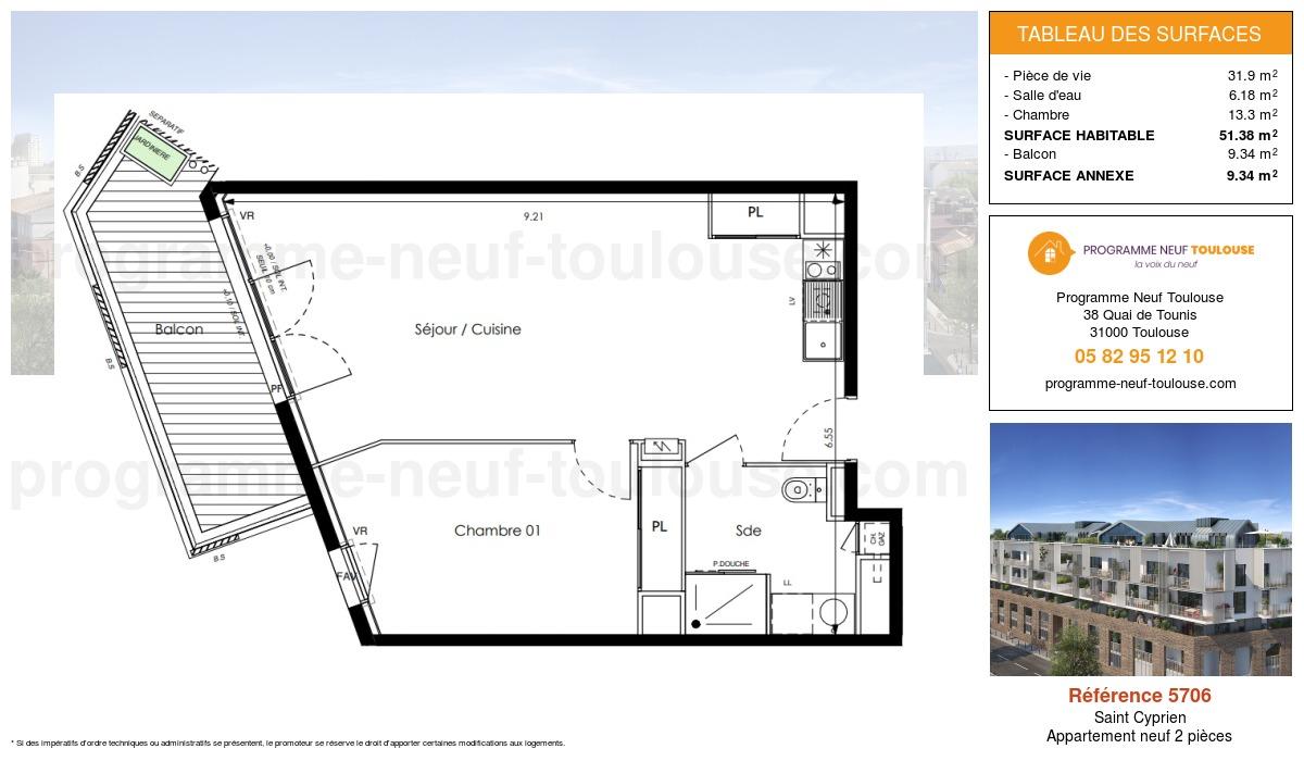 Plan pour un Appartement neuf de  51.38m² à Saint Cyprien