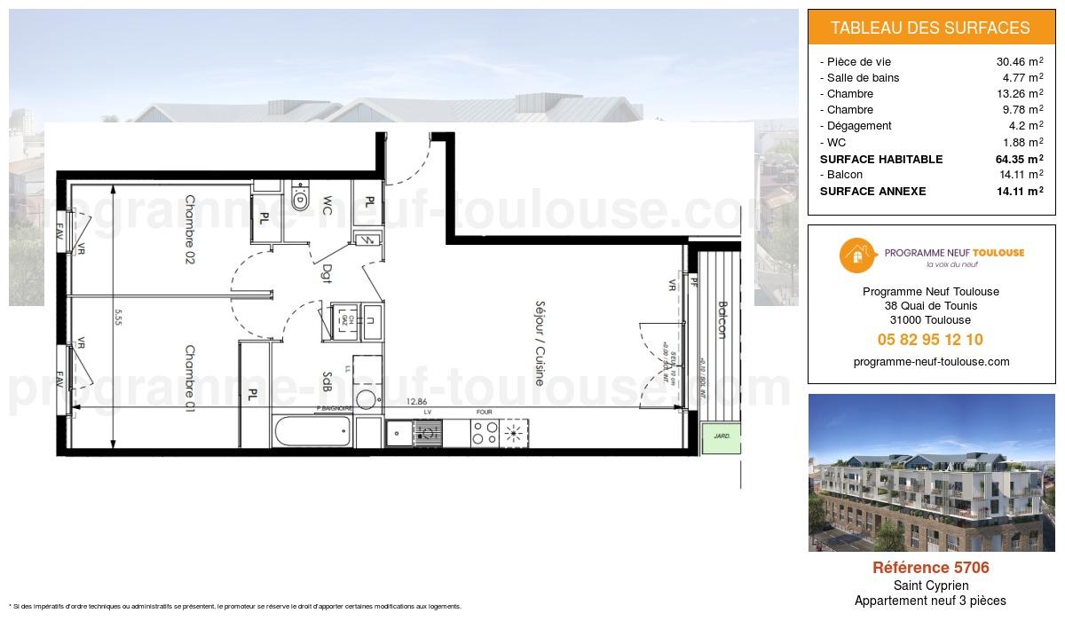 Plan pour un Appartement neuf de  64.35m² à Saint Cyprien