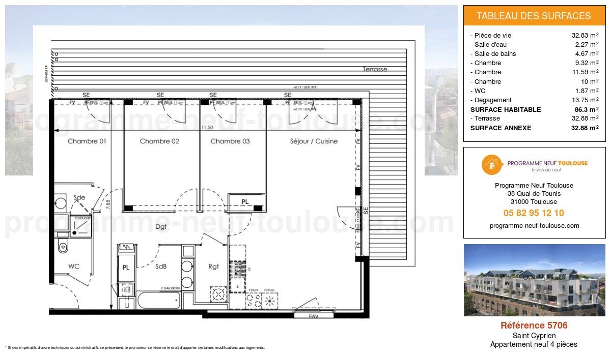 Plan pour un Appartement neuf de  86.3m² à Saint Cyprien