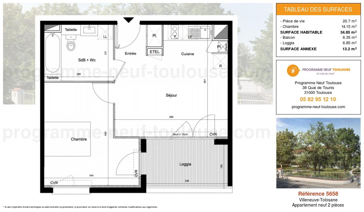 Plan pour un Appartement neuf de  41.2m² à Villeneuve-Tolosane