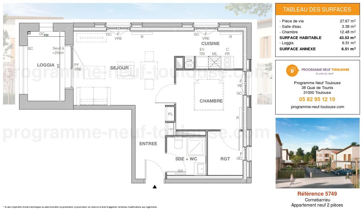 Plan pour un Appartement neuf de  44.38m² à Cornebarrieu