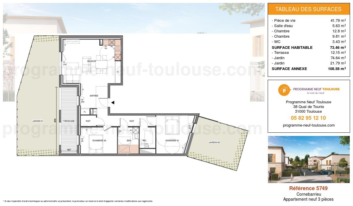 Plan pour un Appartement neuf de  74.46m² à Cornebarrieu
