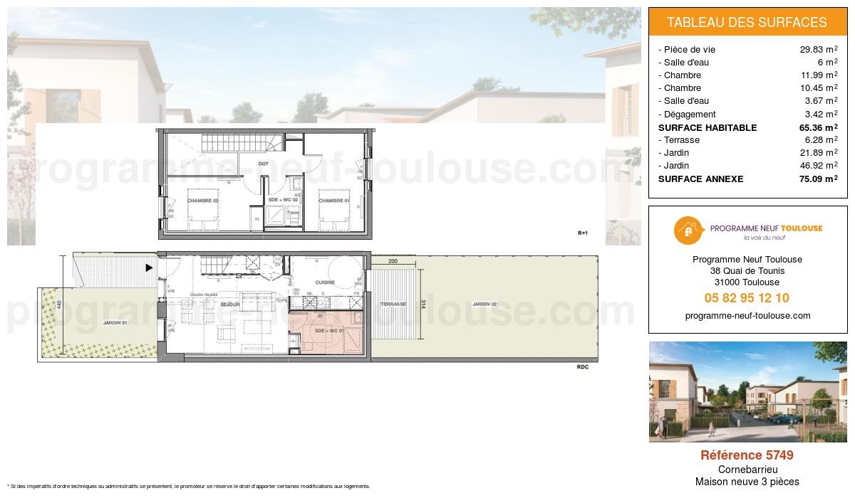 Plan pour un Maison neuve de  65.36m² à Cornebarrieu