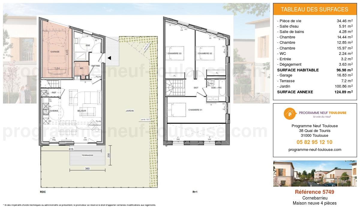 Plan pour un Maison neuve de  96.98m² à Cornebarrieu