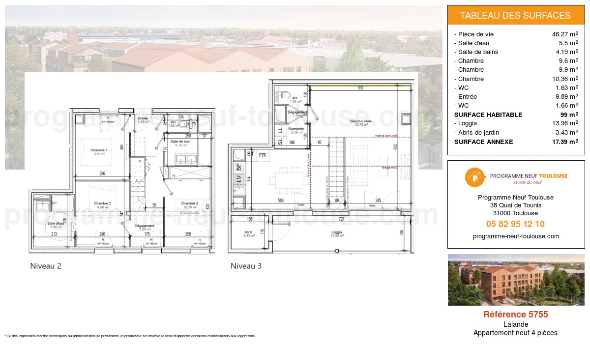 Plan pour un Appartement neuf de  99m² à Lalande