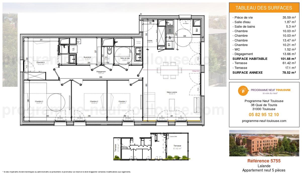 Plan pour un Appartement neuf de  105.69m² à Lalande
