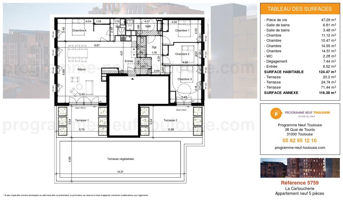 Plan pour un Appartement neuf de  124.48m² à Purpan