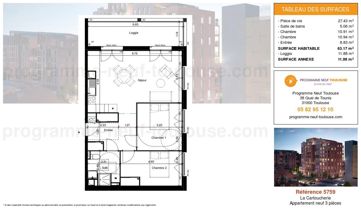 Plan pour un Appartement neuf de  63.16m² à Purpan