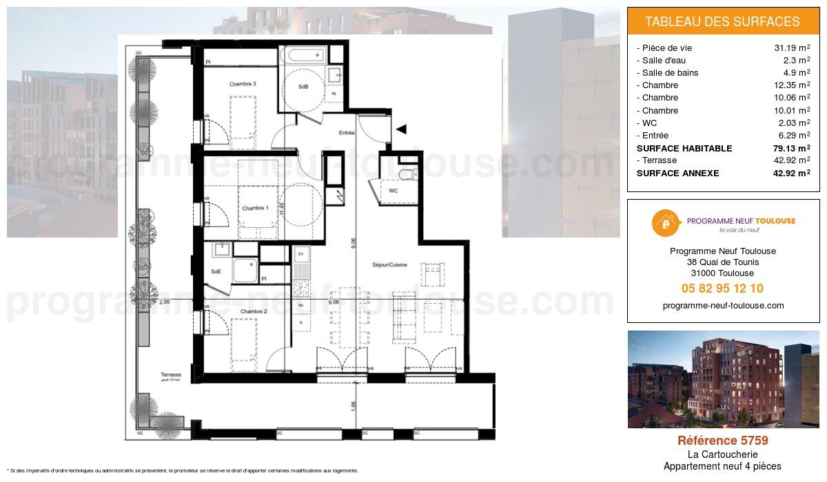 Plan pour un Appartement neuf de  79.13m² à Purpan