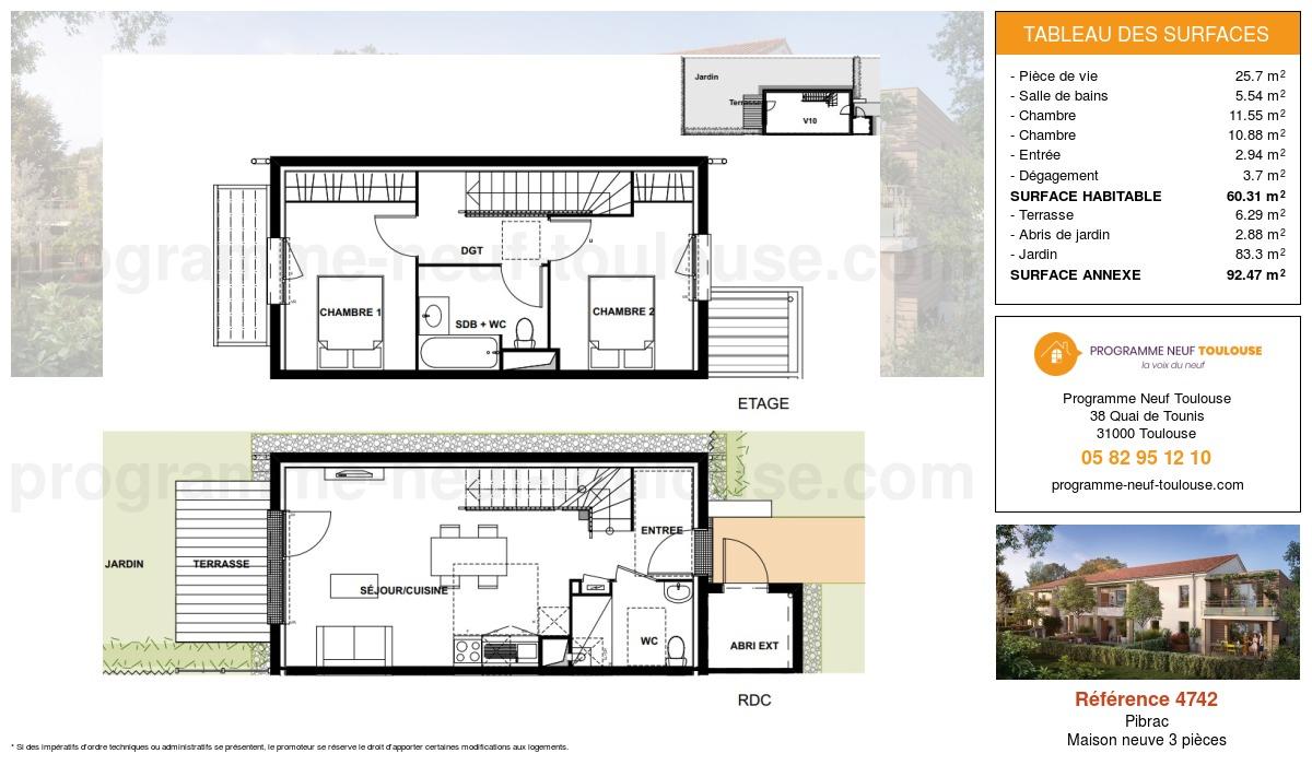 Plan pour un Maison neuve de  64.63m² à Pibrac