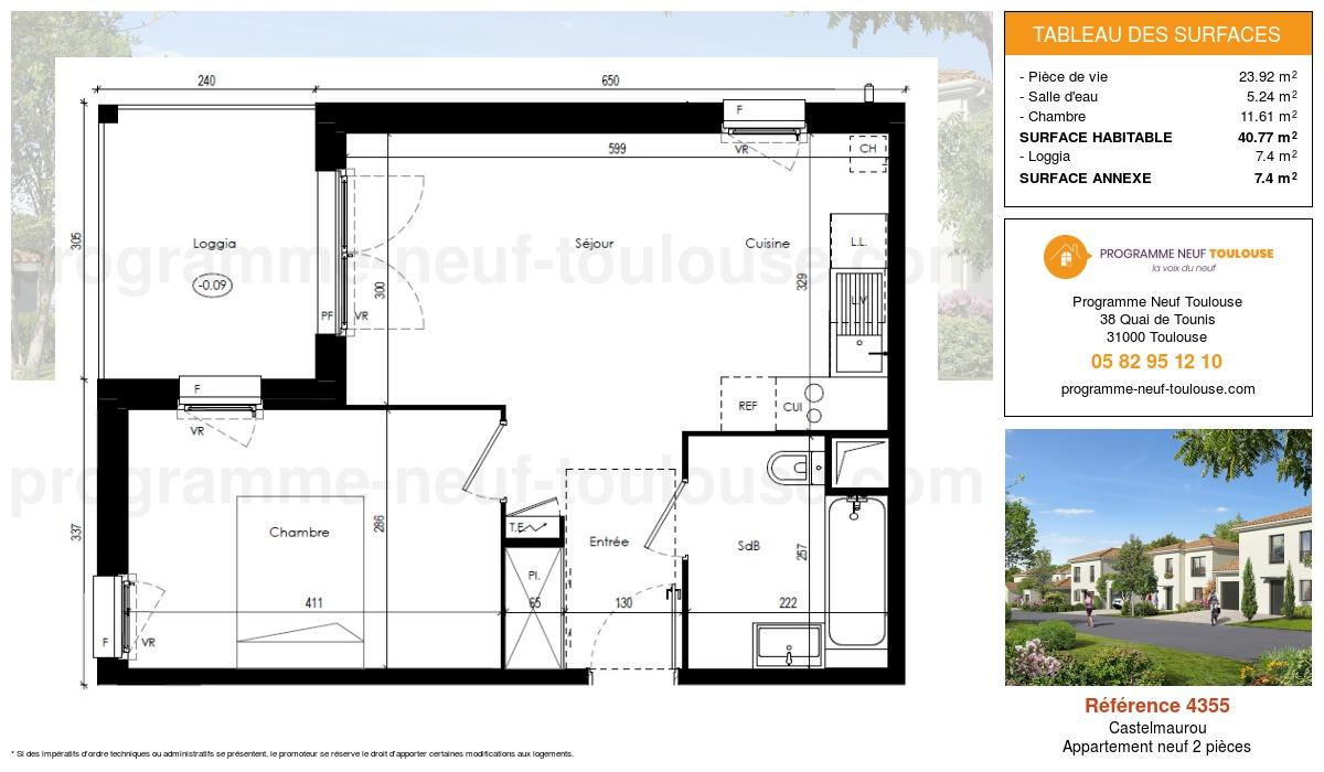 Plan pour un Appartement neuf de  40.77m² à Castelmaurou