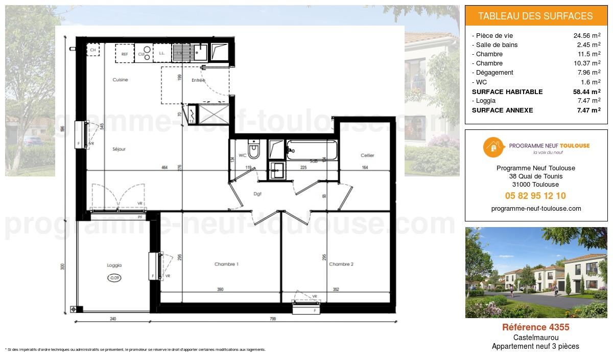Plan pour un Appartement neuf de  58.44m² à Castelmaurou