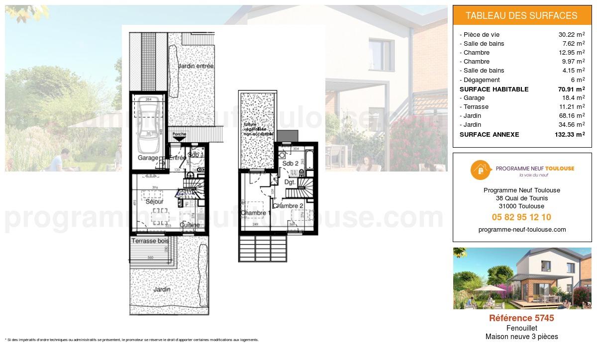 Plan pour un Maison neuve de  70.91m² à Fenouillet
