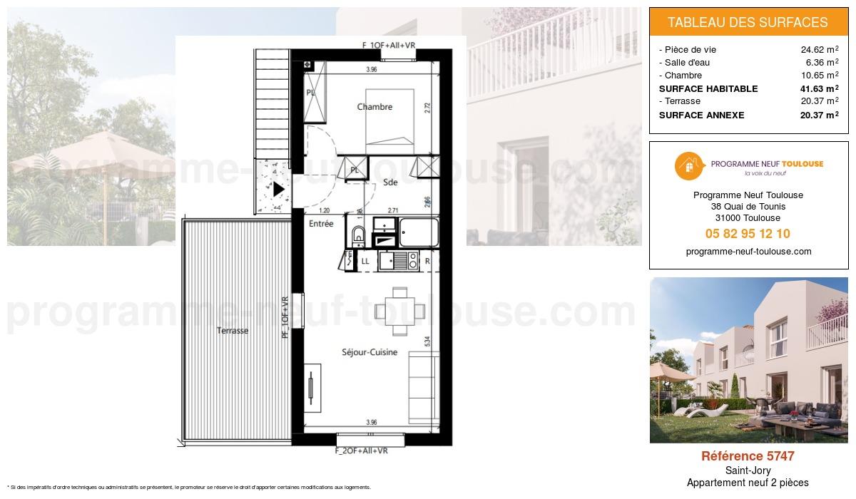 Plan pour un Appartement neuf de  41.63m² à Saint-Jory