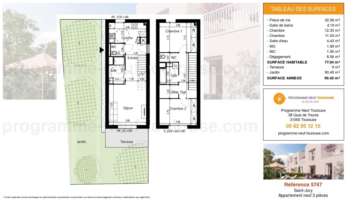 Plan pour un Appartement neuf de  77.04m² à Saint-Jory