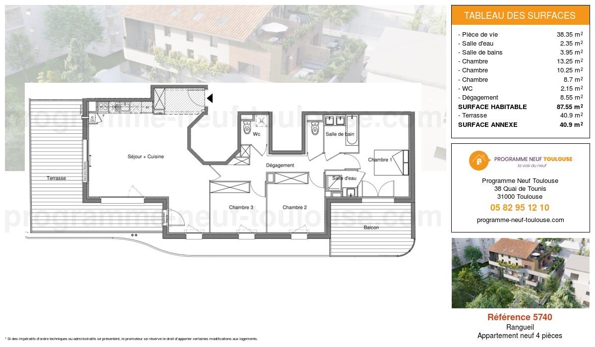 Plan pour un Appartement neuf de  89.9m² à Rangueil