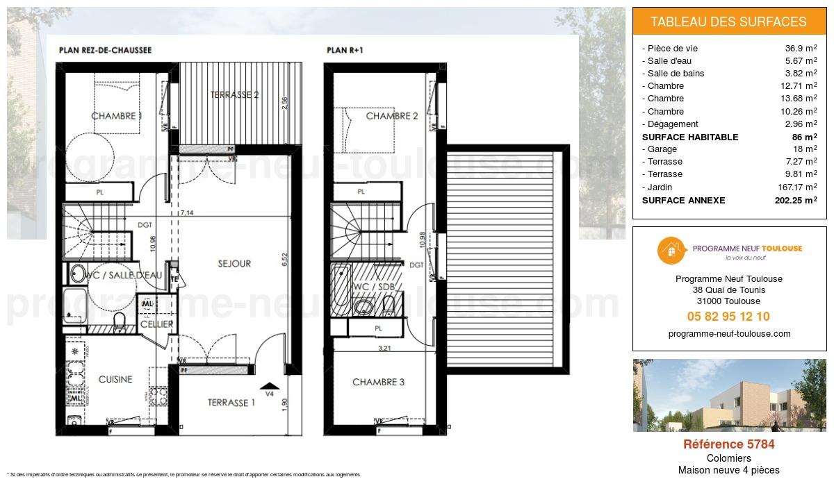 Plan pour un Maison neuve de  86m² à Colomiers