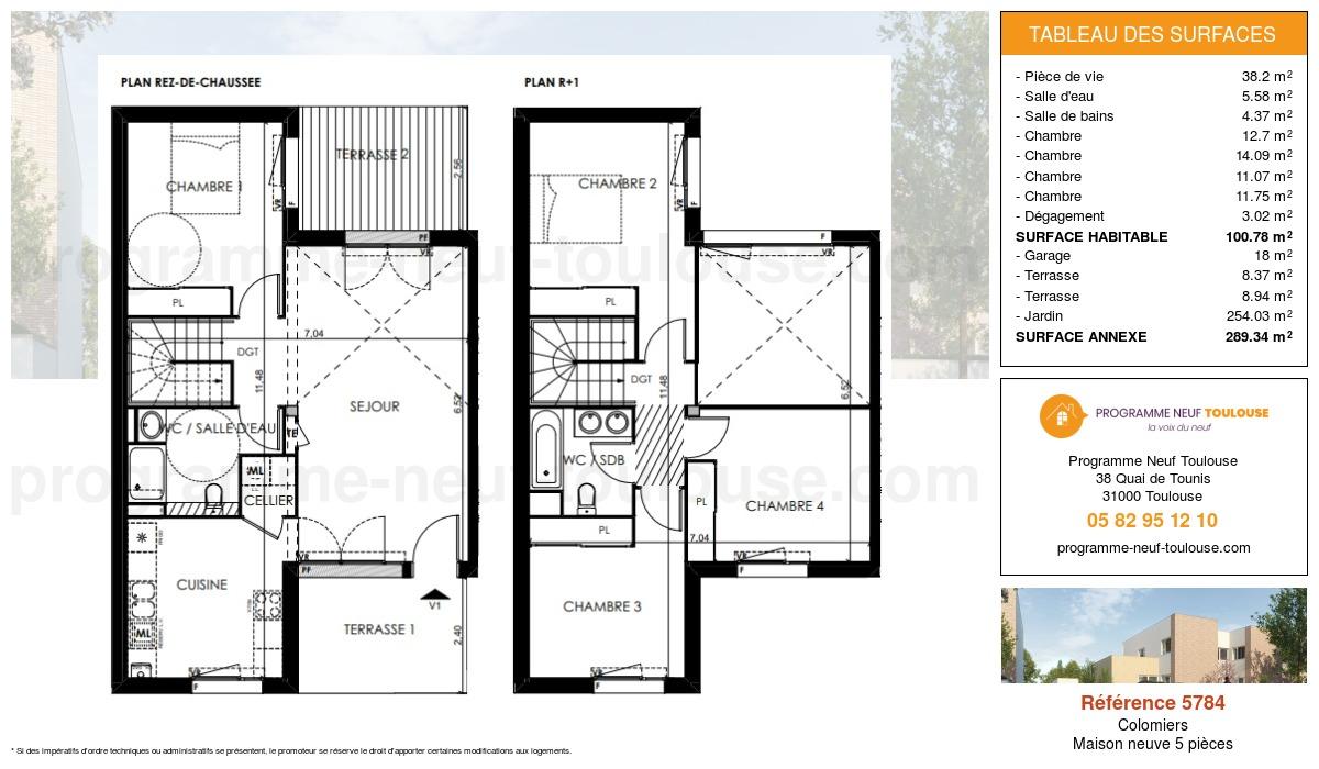 Plan pour un Maison neuve de  100.78m² à Colomiers