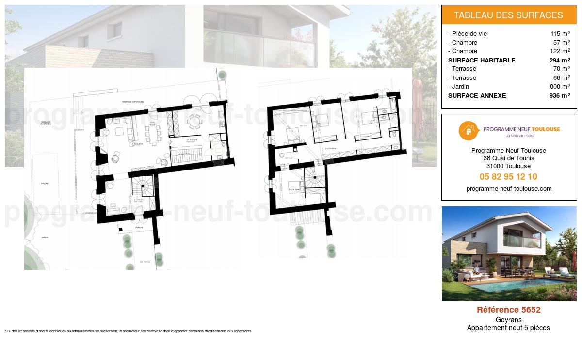 Plan pour un Appartement neuf de  294m² à Goyrans