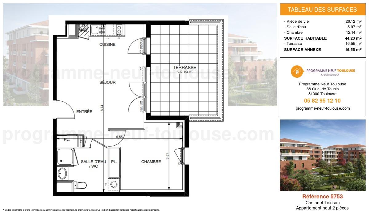 Plan pour un Appartement neuf de  44.23m² à Castanet-Tolosan