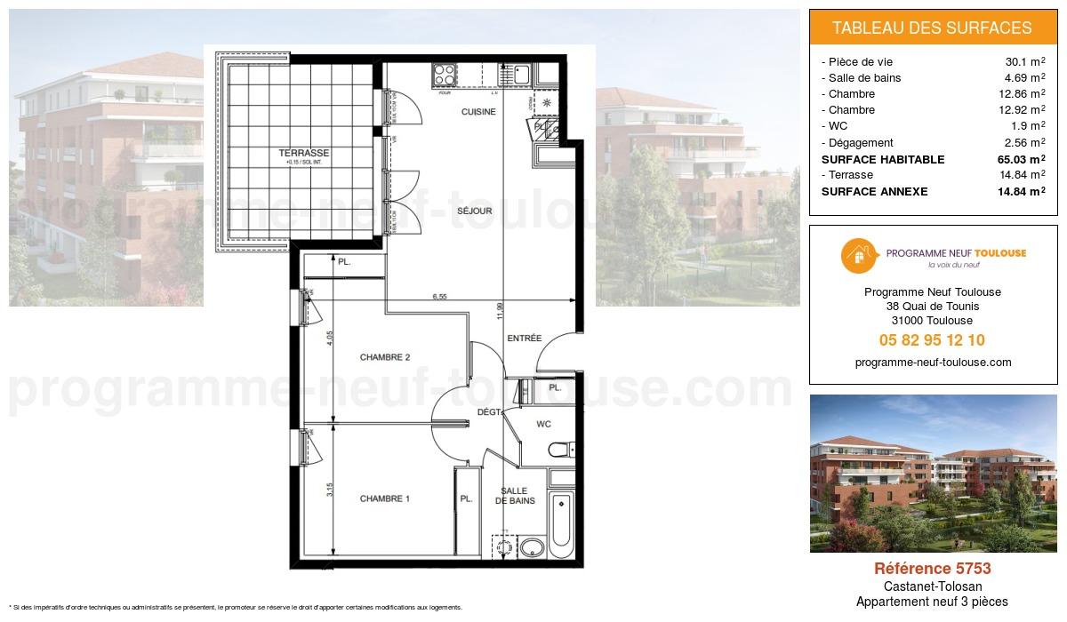 Plan pour un Appartement neuf de  65.03m² à Castanet-Tolosan