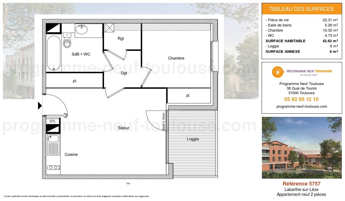 Plan pour un Appartement neuf de  42.62m² à Labarthe-sur-Lèze