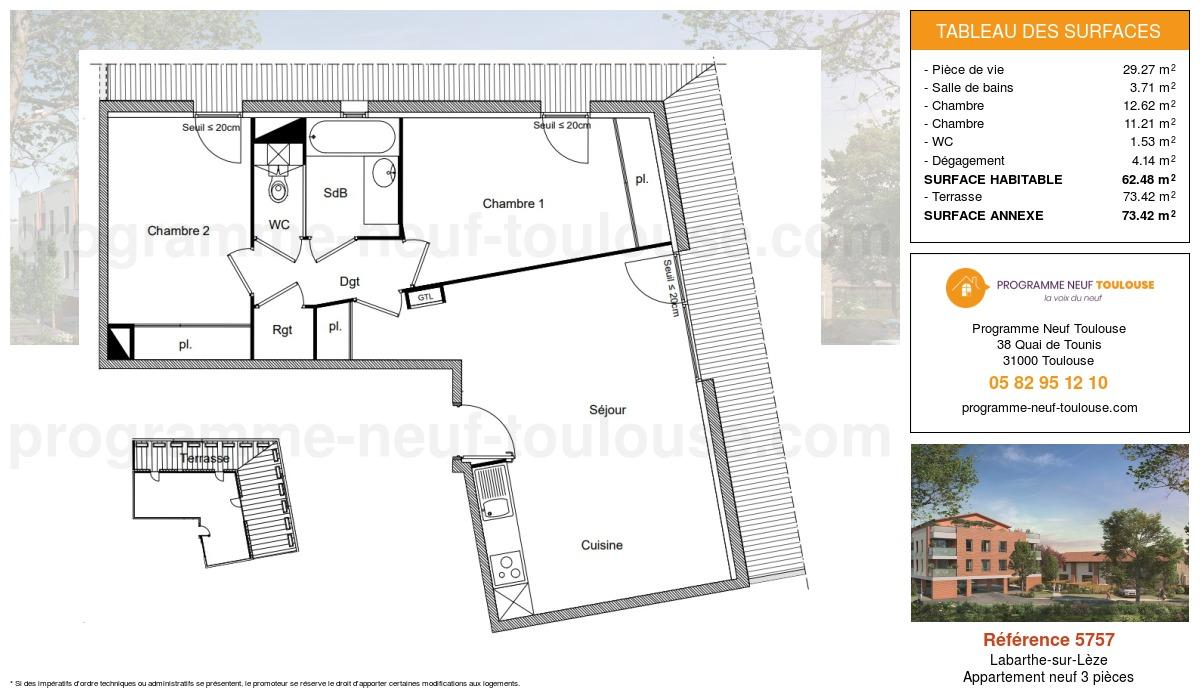 Plan pour un Appartement neuf de  62.48m² à Labarthe-sur-Lèze