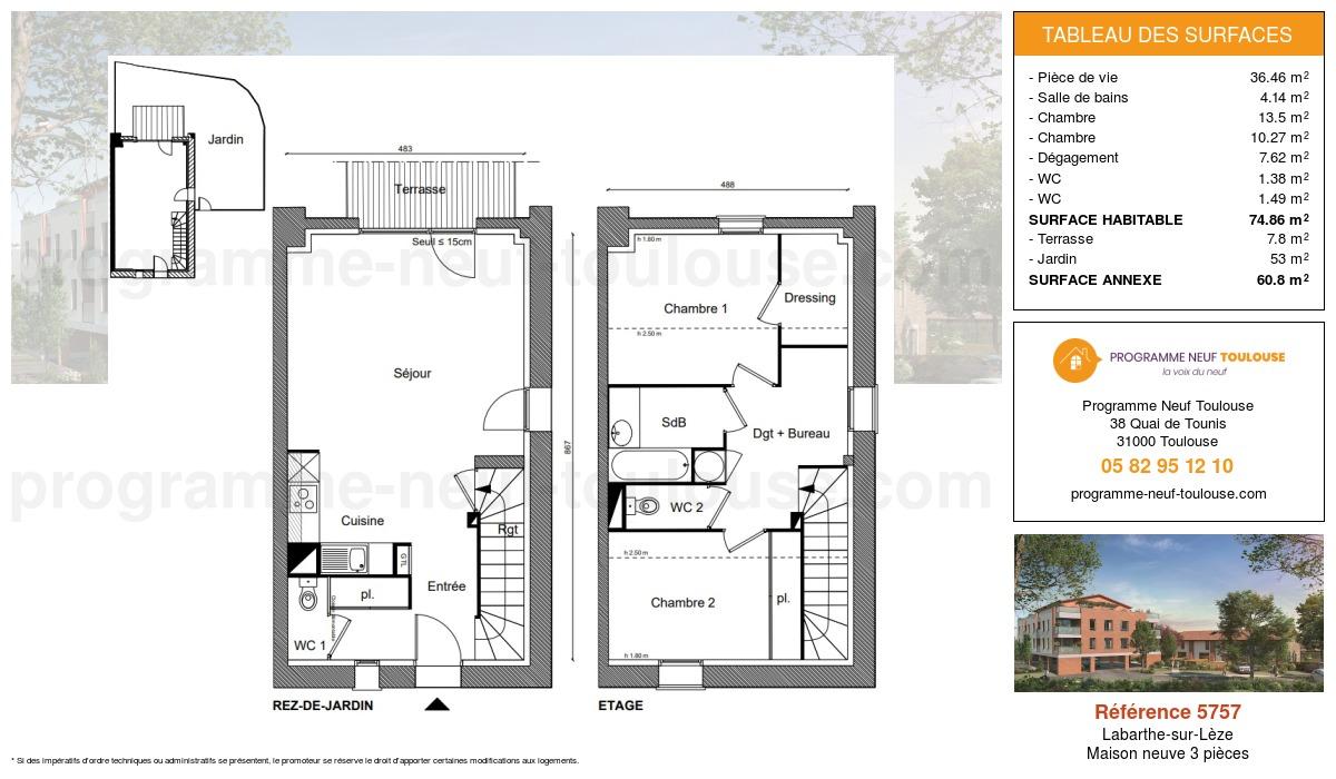 Plan pour un Maison neuve de  74.86m² à Labarthe-sur-Lèze