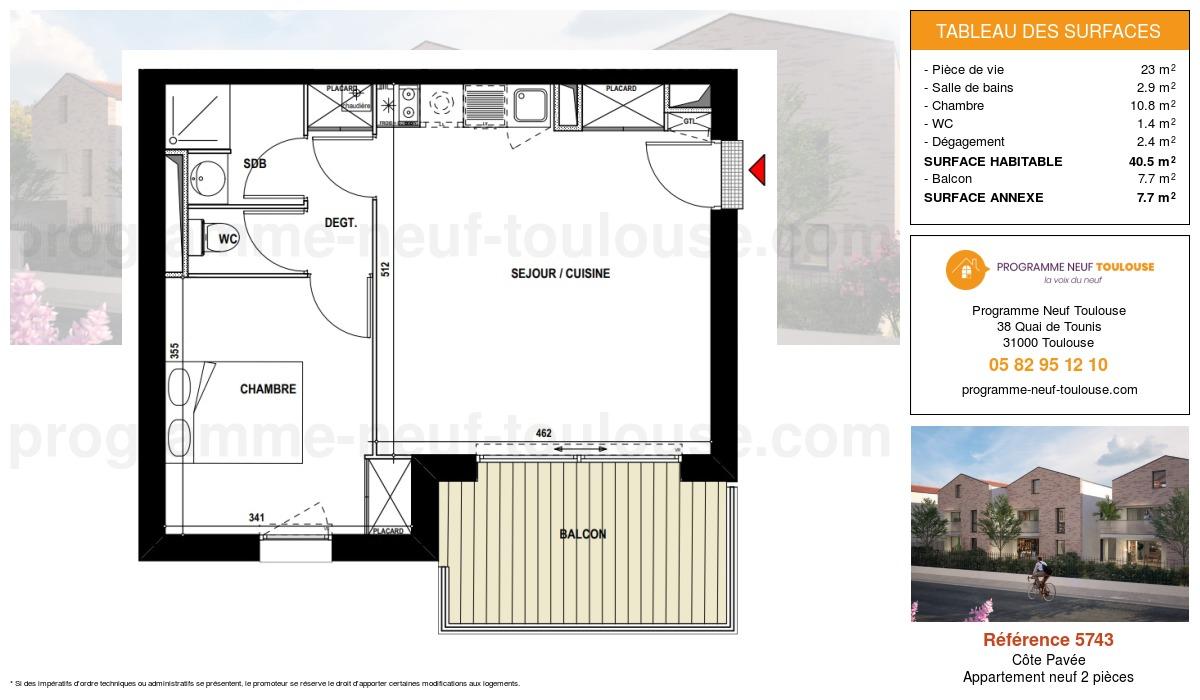 Plan pour un Appartement neuf de  40.5m² à Côte Pavée