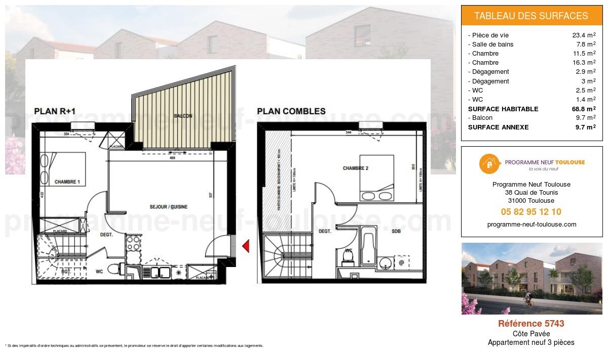 Plan pour un Appartement neuf de  68.8m² à Côte Pavée