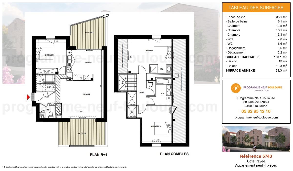 Plan pour un Appartement neuf de  100.1m² à Côte Pavée