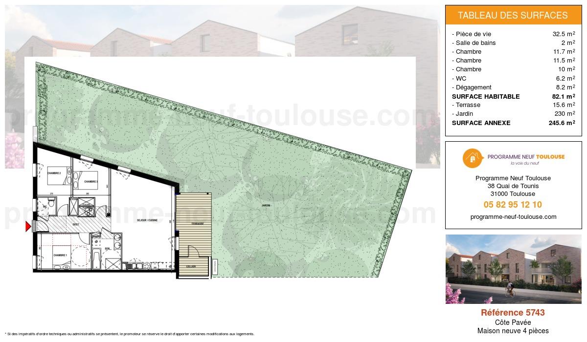 Plan pour un Maison neuve de  82.1m² à Côte Pavée