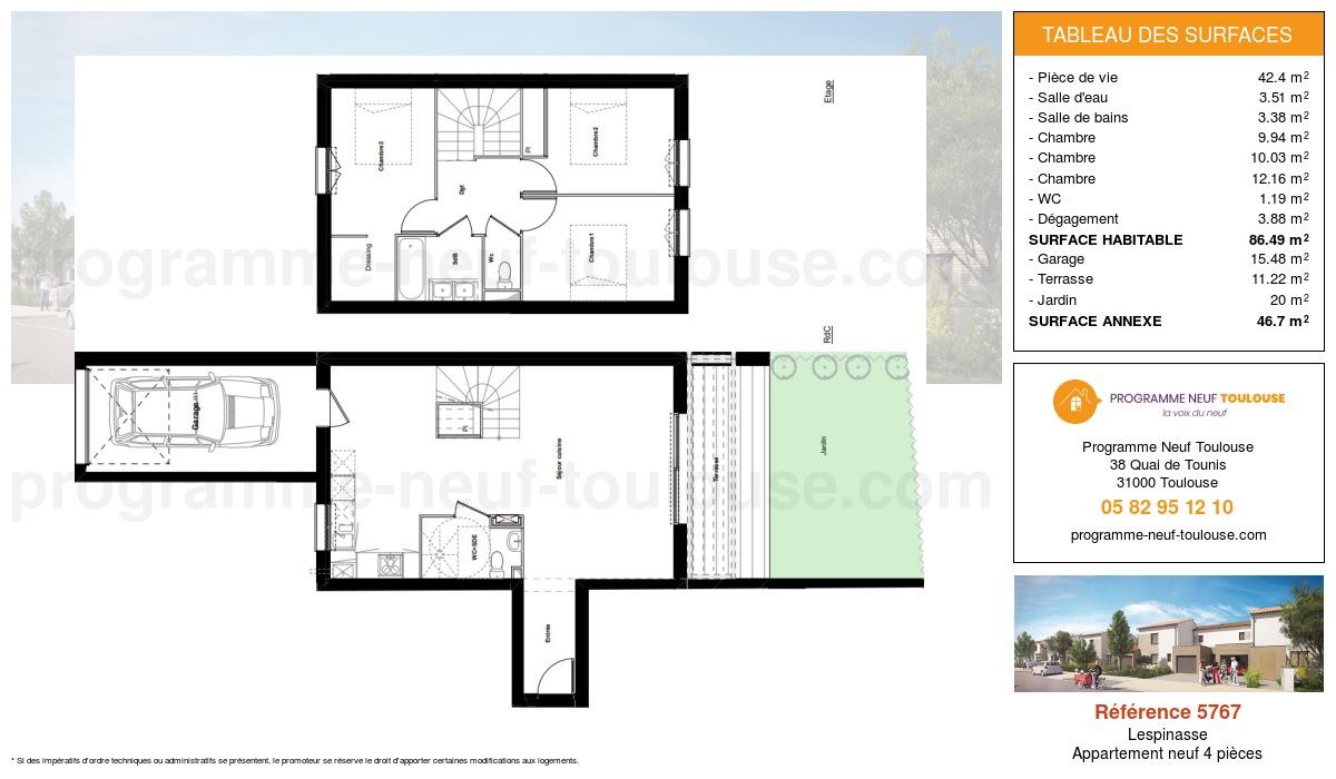 Plan pour un Appartement neuf de  86.49m² à Lespinasse