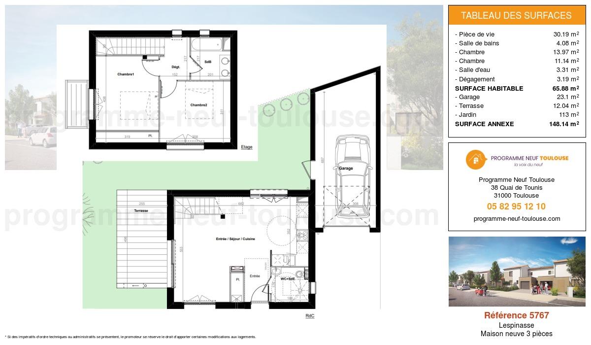 Plan pour un Maison neuve de  65.88m² à Lespinasse