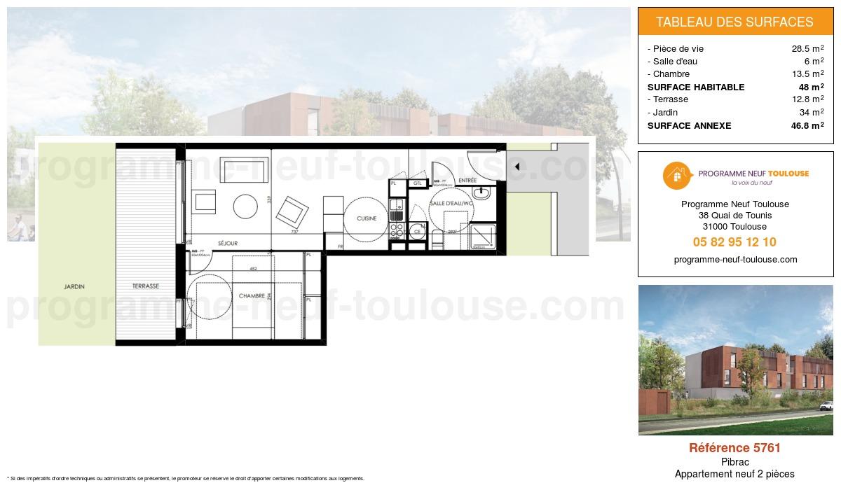 Plan pour un Appartement neuf de  48m² à Pibrac
