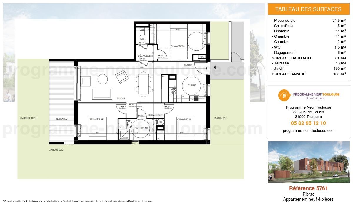 Plan pour un Appartement neuf de  81m² à Pibrac