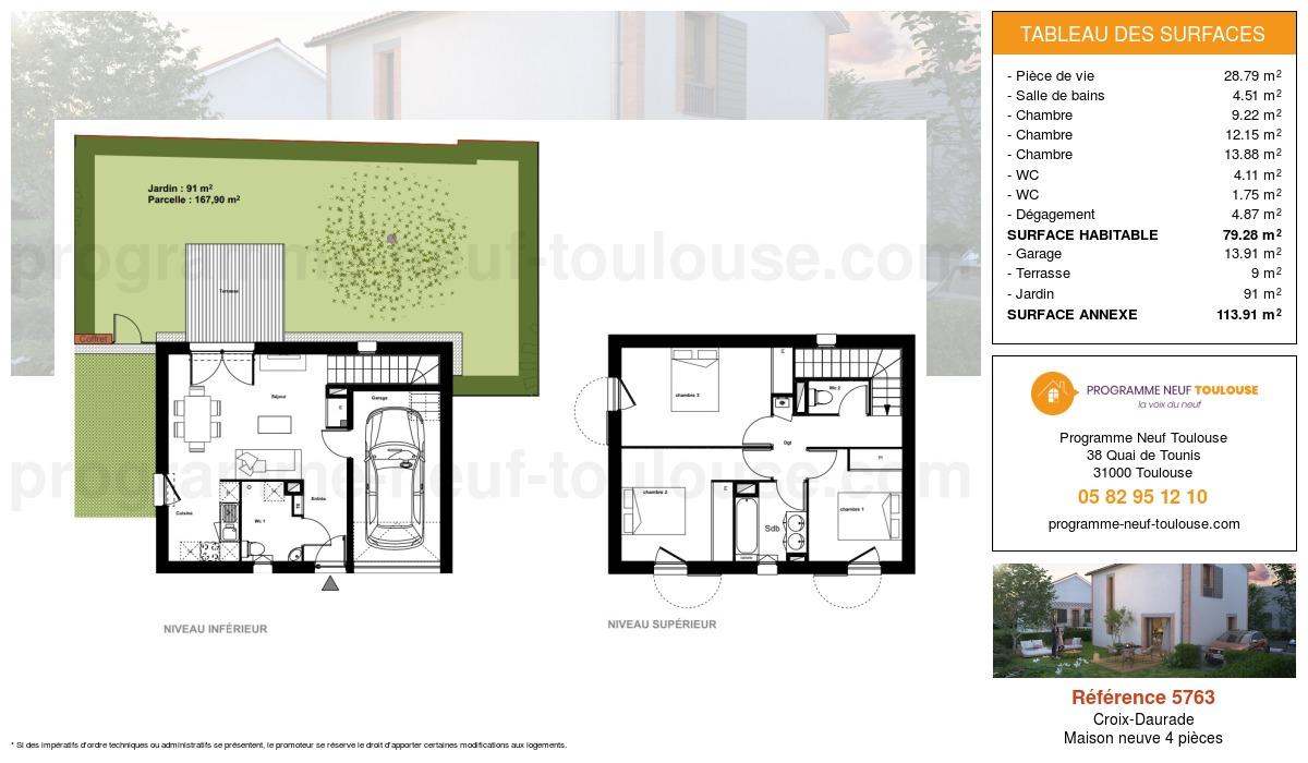 Plan pour un Maison neuve de  79.28m² à Croix-Daurade