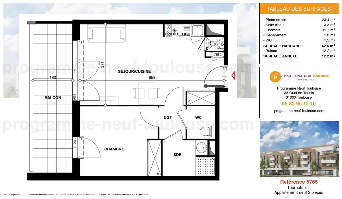 Plan pour un Appartement neuf de  42.6m² à Tournefeuille