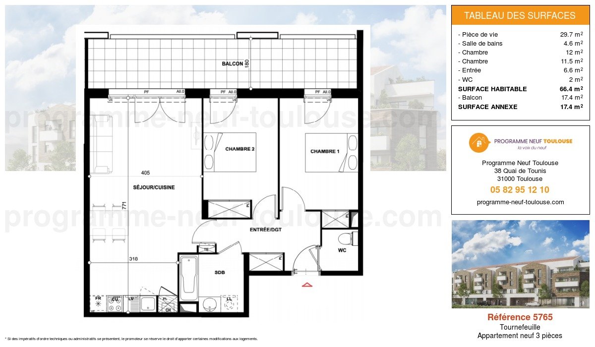 Plan pour un Appartement neuf de  66.4m² à Tournefeuille