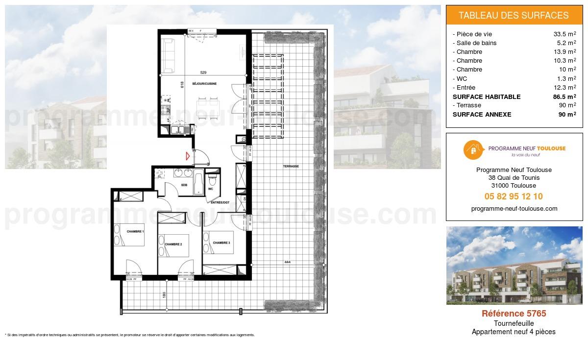Plan pour un Appartement neuf de  86.5m² à Tournefeuille