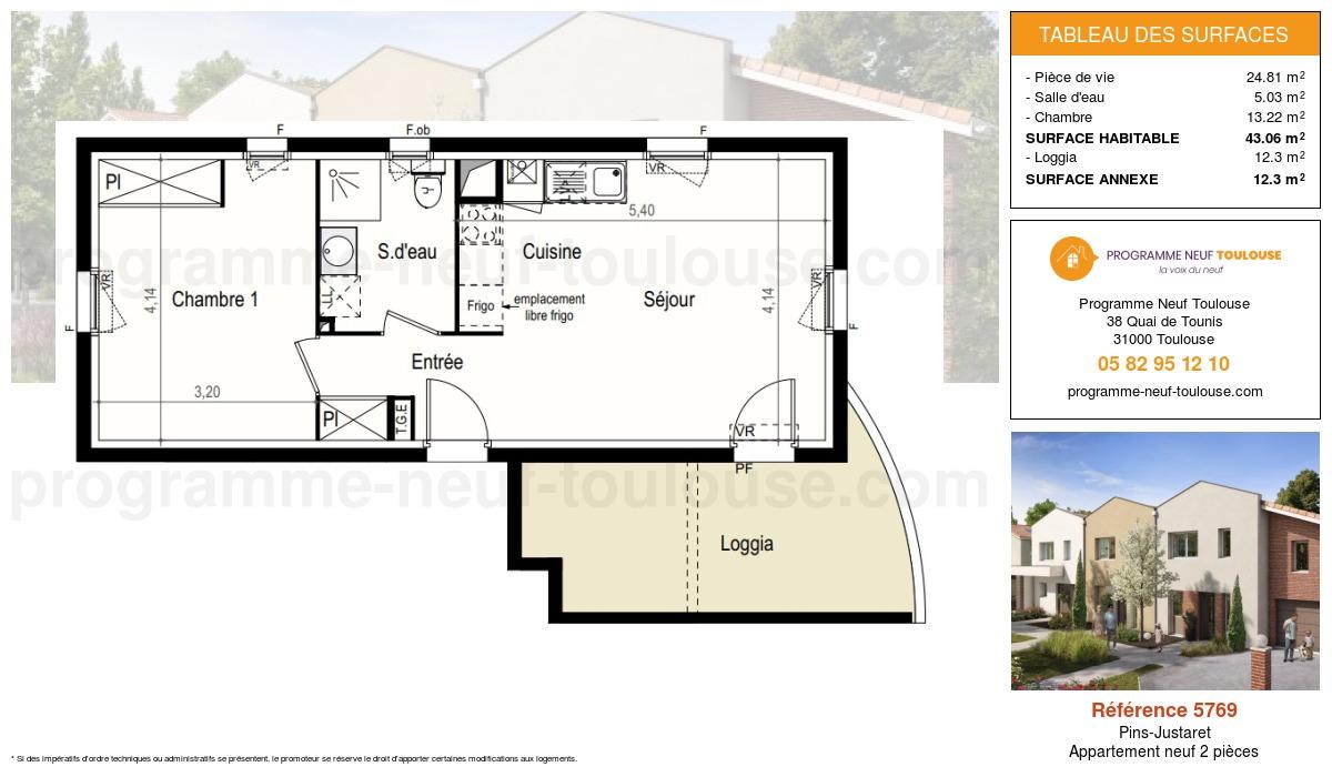 Plan pour un Appartement neuf de  43.06m² à Pins-Justaret