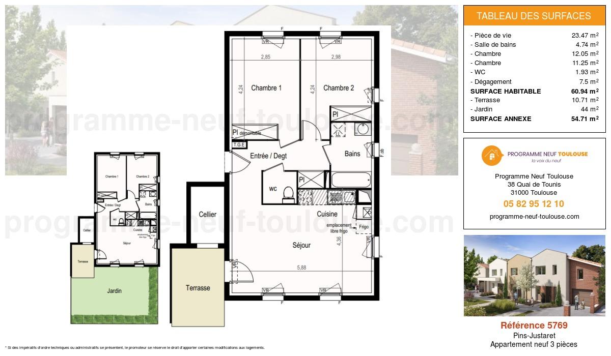 Plan pour un Appartement neuf de  60.94m² à Pins-Justaret