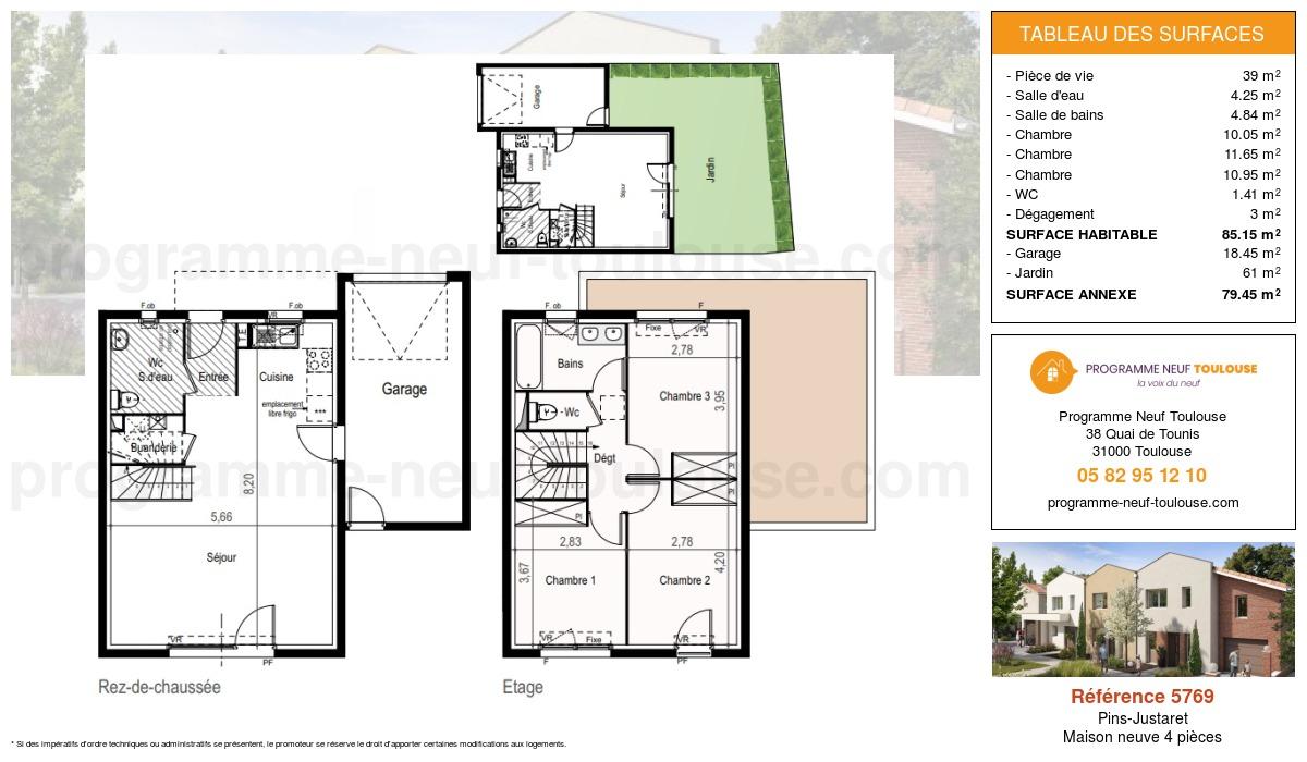 Plan pour un Maison neuve de  85.15m² à Pins-Justaret