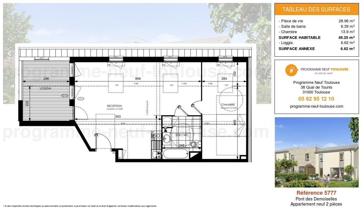 Plan pour un Appartement neuf de  49.25m² à Pont des Demoiselles